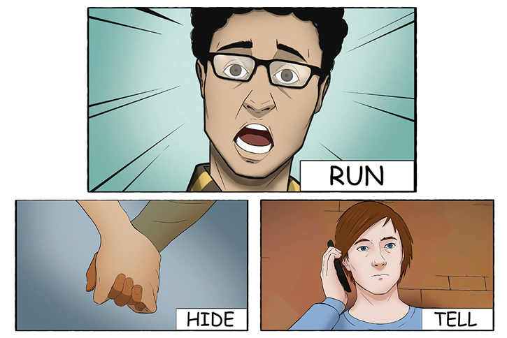 Run,Hide,Tell: The animation is designed to be part of a lesson plan for schools and youth organisations
