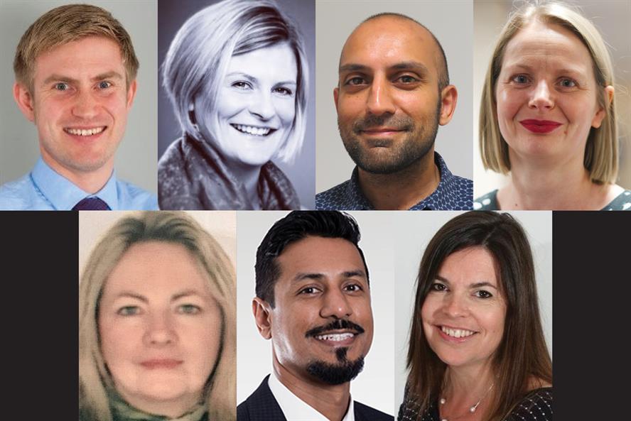 Steering committee (clockwise, from top left): Richard Mountford; Liz Davies; Shak Rafiq; Kerry Beadling-Barron; Julie Clayton; Ranjeet Kaile; and Alison Brown