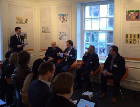 PRWeek's John Harrington (standing) with David Harold, Imagination Technologies; Andrew Geldard, Willmott Dixon; Rob Metcalfe, Richmond Towers; and John Lonsdale, Octopus