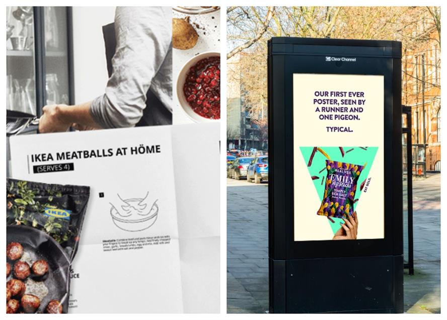 Fun tone: recent campaigns for Ikea (left) and snack brand Emily
