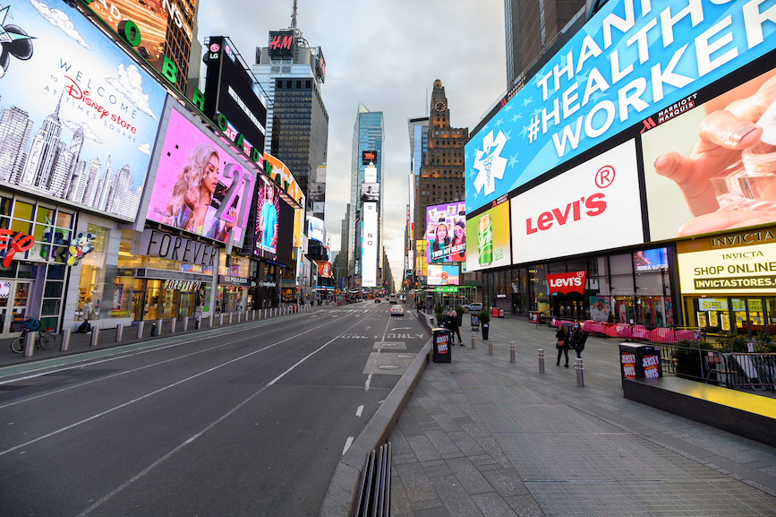 Times Square in NYC was unrecognizable as COVID-19 stripped the normally packed streets of buzz and atmosphere. (Pic: Getty Images.)