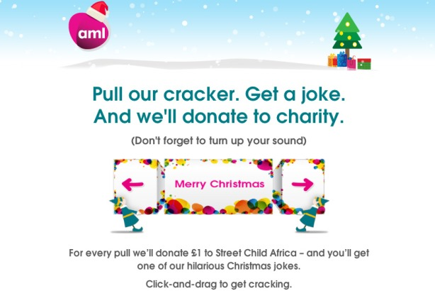 AML Christmas cracker: Will raise money for charity Street Child Africa