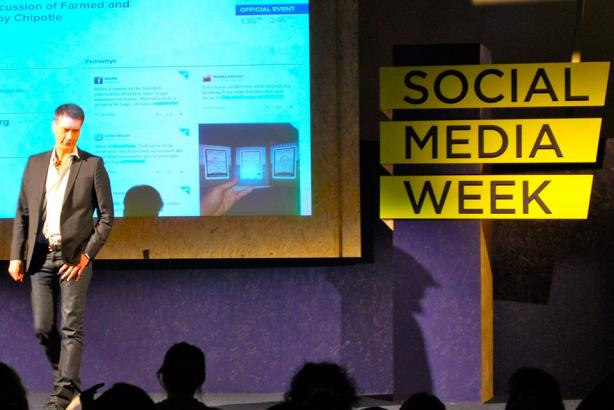Mark Crumpacker speaking at Social Media Week in 2014. (Image via Chipotle's Facebook page).