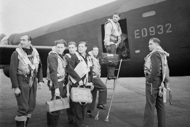Wing Commander Gibson and his crew board their Lancaster A3-G for the Dambusters raid (pic credit: Crown Copyright)