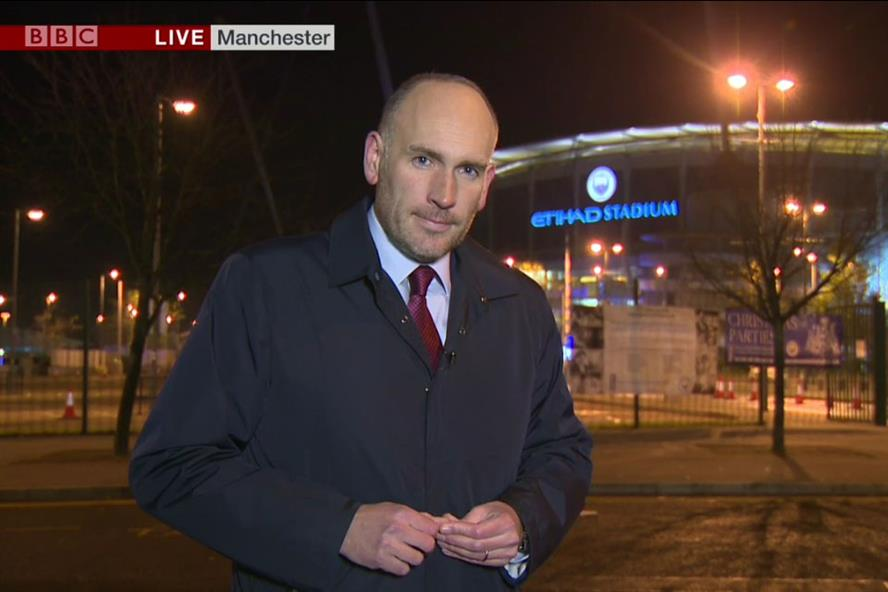 Dan Roan reporting live from the Etihad stadium in Manchester