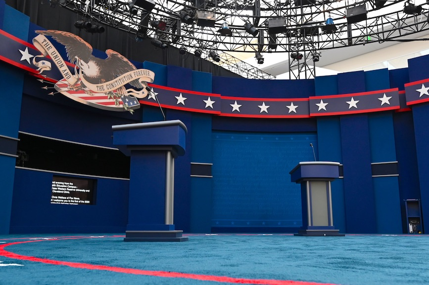 The stage is set for Tuesday night's presidential debate in Cleveland. (Photo credit: Getty Images)