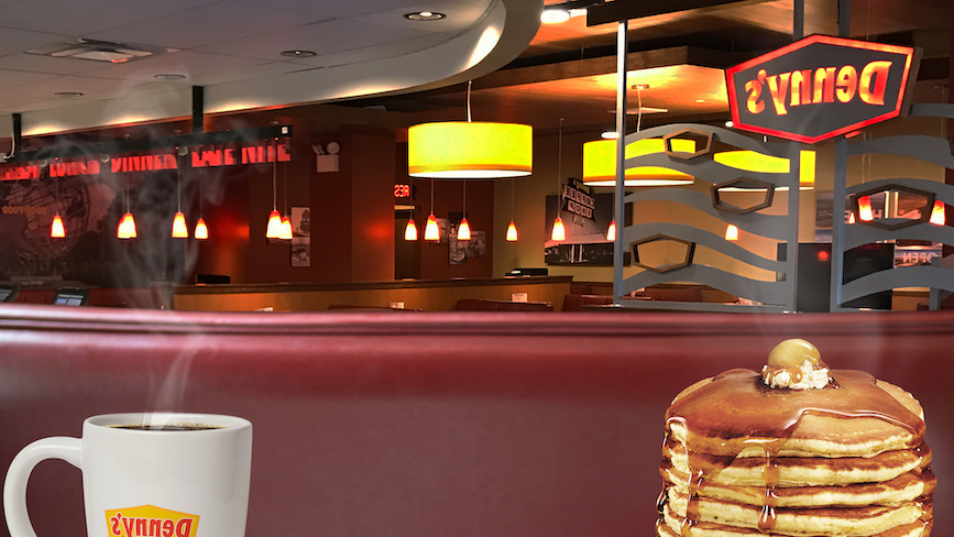 Need a background for virtual meetings? This one is part of Denny's recent social media activity.