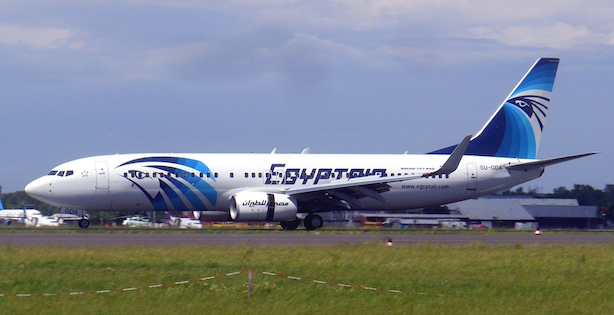 An EgyptAir flight on the ground. (Image via Wikimedia Commons).