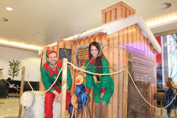 London City Airport: Log cabin in the departure lounge where passengers can record Christmas messages