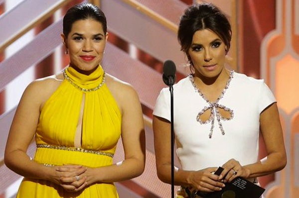 America Ferrera and Eva Longoria on stage at the Golden Globes (screen grab)