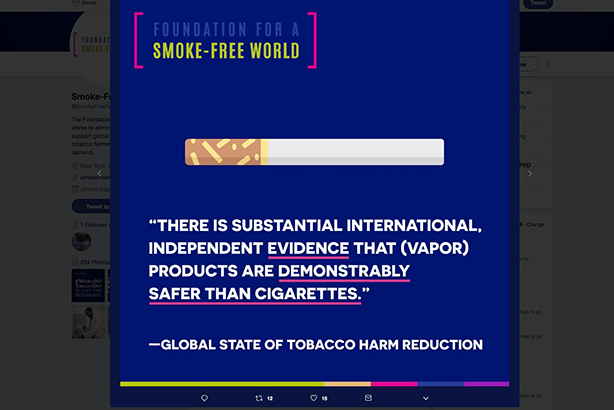 An example of content on the Foundation for a Smoke-Free World's website