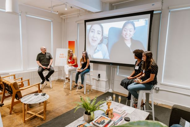 L-R: Josh Rosenberg, Marissa Levine, Hanna Goldstein, Andi Claman (on screen), Tyler Yee (on screen), Cheyenne Desorosiers, Sofia Tasolides.