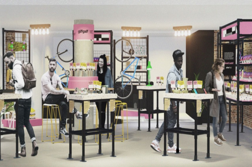 The Giffgaff pop-up shop in Seven Dials, Covent Garden