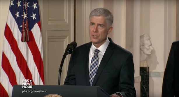 Donald Trump introduced Neil Gorsuch as his pick for the Supreme Court on Tuesday night. (Screenshot via PBS).