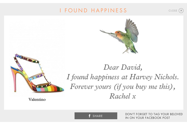 Harvey Nichols: Encouraging customers to send direct hints for Valentine's Day gifts
