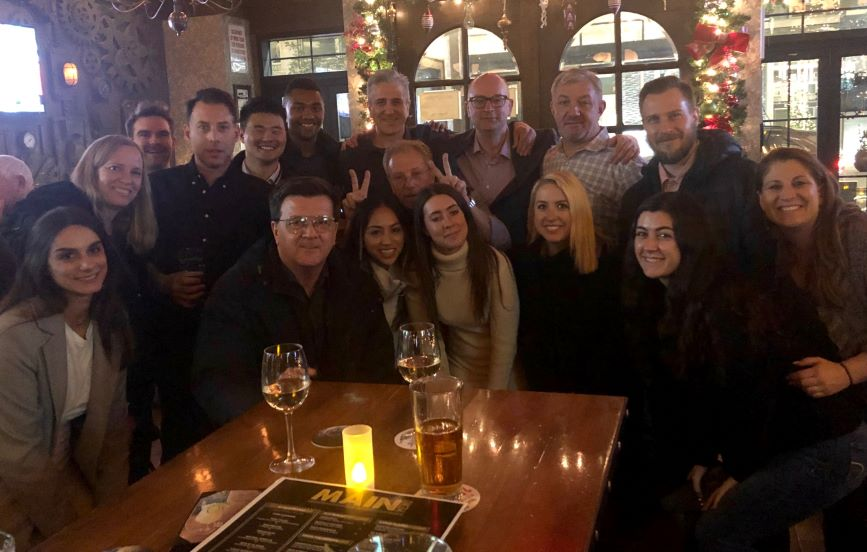 PRWeek and Haymarket Media staff prepare for the holidays with Crompton Ale House landlord Jimmy McSweeney.
