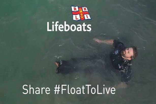 Ant Middleton, celebrity ambassador for RNLI, in a still from the new film in which he shows how to survive by floating