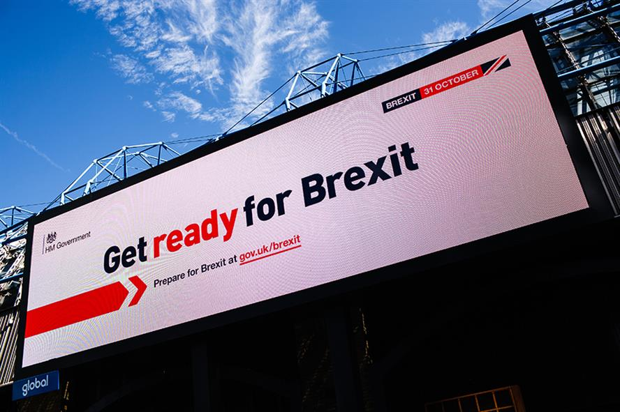 A 'Get ready for Brexit' billboard on Westminster Bridge Road in September 2019 (©David Cliff/NurPhoto via Getty Images)
