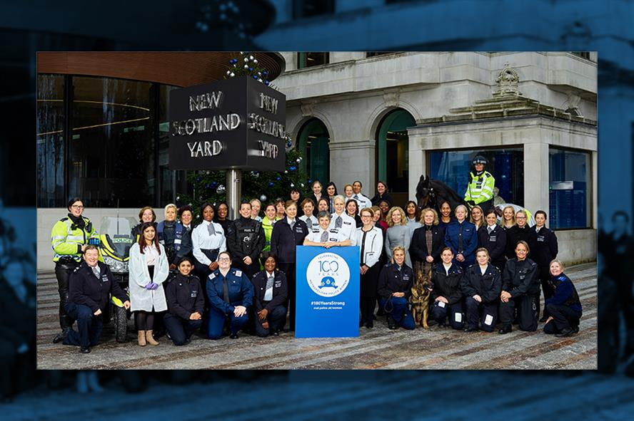 Cressida Dick, commissioner of the Metropolitan Police, launching the campaign with other women officers outside New Scotland Yard