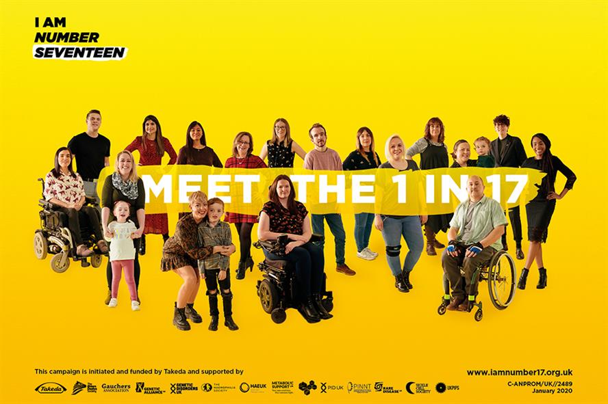 The 'I Am Number 17' campaign was devised to raise awareness of people with rare diseases