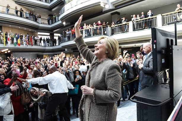 Hillary Clinton on the campaign trail. (Image via Clinton's Facebook page).