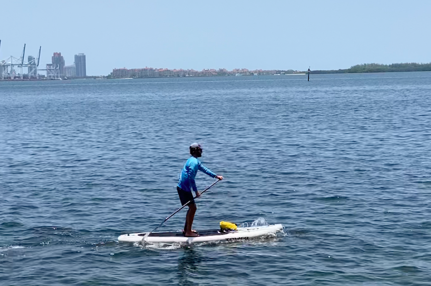 John Forberger of Forberger Communications shows off his paddleboarding skills.