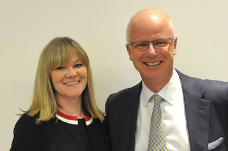 Lucy Cronin with group managing director Tim Linacre.