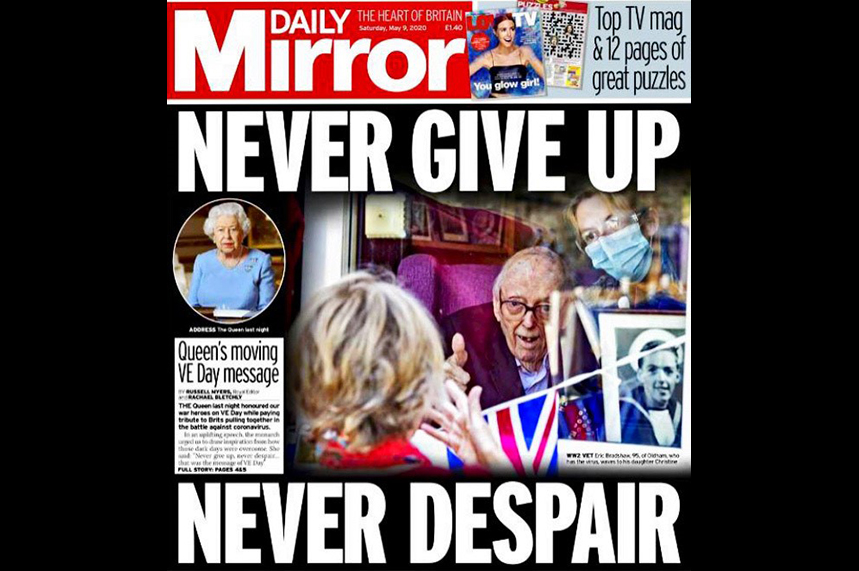 Coverage: a campaign picture made the The Daily Mirror front page
