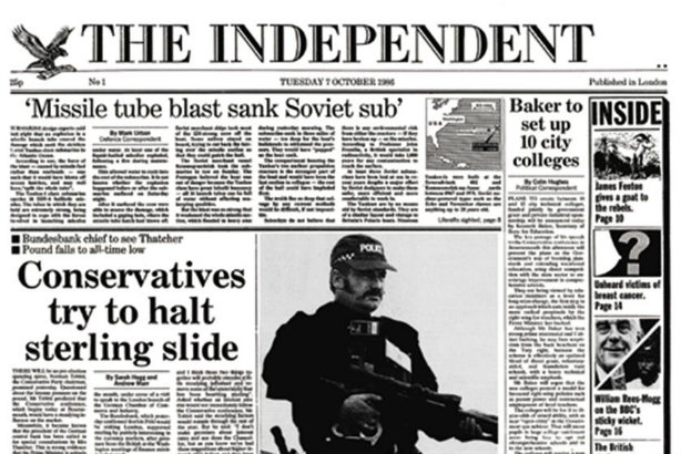 7 October 1986's front page
