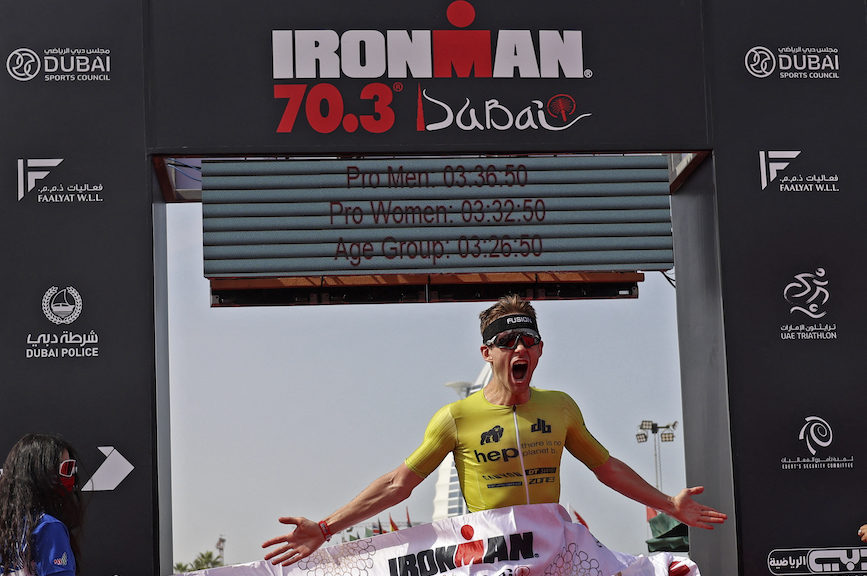 The Ironman 70.3 Dubai 2021 race this month. (Photo credit: Getty Images).