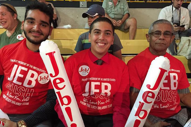 Supporters of Jeb Bush at his campaign kickoff on Monday. (Image via the campaign's Facebook page).