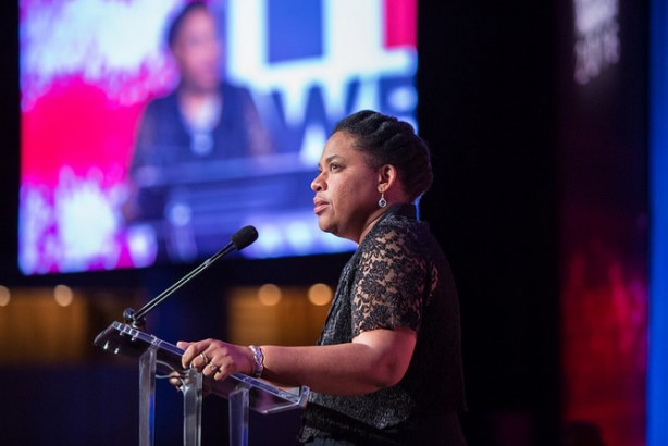 Jennifer Pinckney accepts the PRWeek Communicator of the Year 2016 award on behalf of her late husband, Clementa. Photo by Erica Berger.