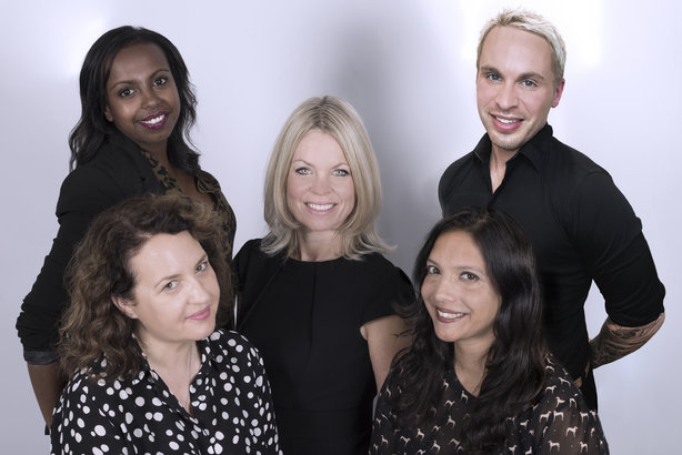 The Jolly Rebellion team with Frankie Oliver (centre) Cathy Hutton (front left), Ila de Mello Kamath (front right) Hiot Shawl (back left) and Sam Collett (back right)