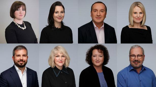 Clockwise from top left: Jo-ann Robertson, Deidre Murphy, Gavin Cooper, Kirsty Sachrajda, Neil McLelland, Kate Paxton, Susan Smith and new hire Jamie Robertson