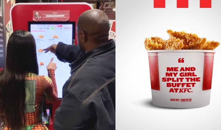 Kim Kardashian and Kanye West order from a KFC kiosk in Paris this week. (Pic: KFC Twitter account.)