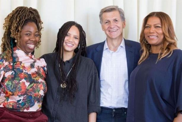 L-R: B. Monét, Haley Elizabeth Anderson, Marc Pritchard, Queen Latifah