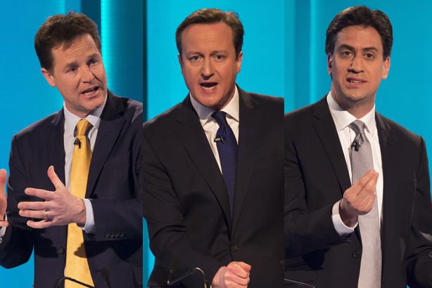 Party leaders: Nick Clegg, David Cameron & Ed Miliband (Credit: Ken McKay/ITV via Getty Images)