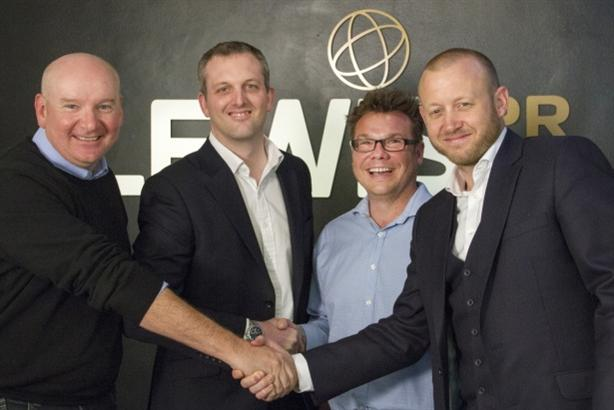 (L-R) Lewis founder Chris Lewis, UK MD Giles Peddy, Butler and Smee pictured in 2014