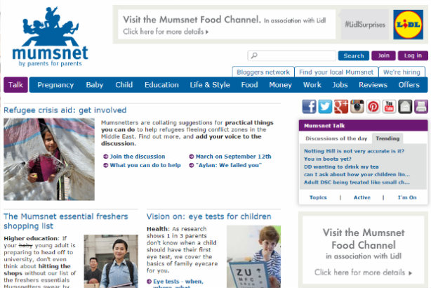 Mumsnet's food section is 'in association with Lidl' from today