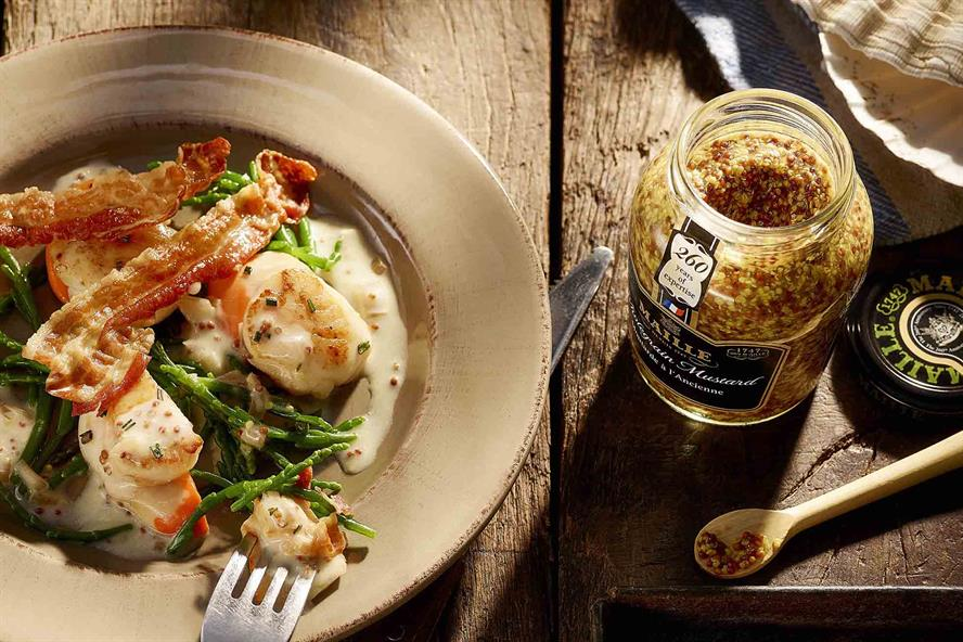 Influencer creation: sauteed scallops with Maille mustard created by Bibendum