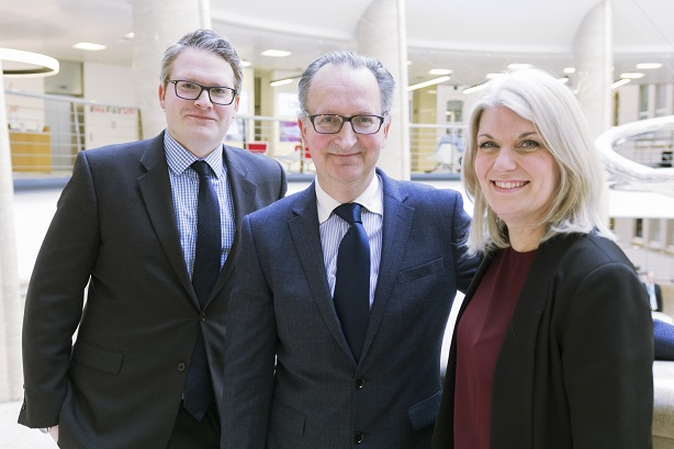 New hire Marlowe (l) with PA lead Jon McLeod and UK CEO Rachel Friend