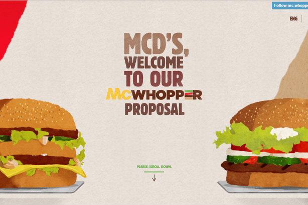 Mash-up: Burger King has created the McWhopper.com website to explain its proposal to McDonald's