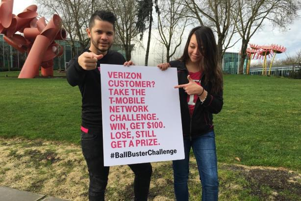 T-Mobile is asking consumers to take its #BallBusterChallenge in response to Verizon's claims