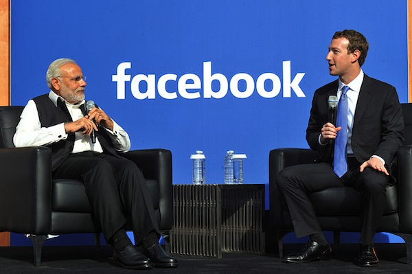 Narendra Modi and Mark Zuckerberg lobbying each other last year. (Narendra Modi/Wikimedia Commons)