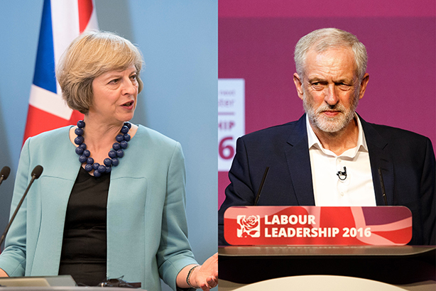 Both party leaders must speak to the voters beyond the conference hall (© East News/REX/Shutterstock and Robert Perry/REX/Shutterstock)