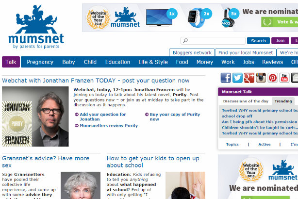 The front page of Mumsnet this morning