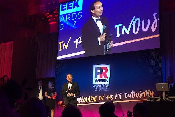 Communicator of the Year Oscar Munoz at the PRWeek Awards on Thursday night.