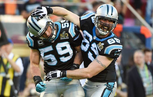 Luke Kuechly and Jared Allen at Super Bowl 50 in February. (Image via the NFL's Facbeook page).