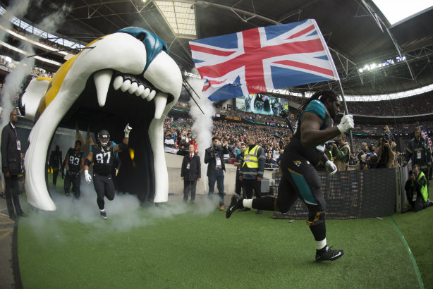 Jacksonville Jaguars run out for the start of an NFL game in Wembley last year