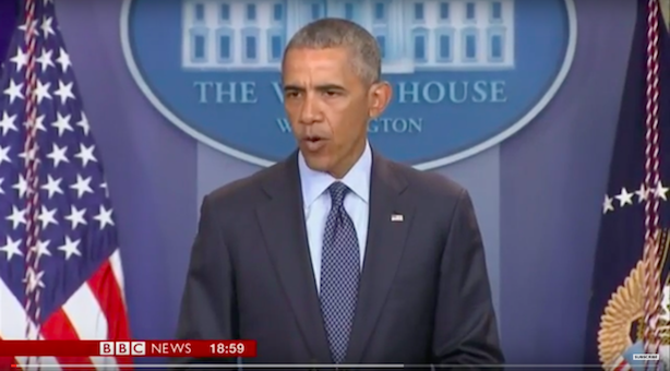 President Obama spoke from the White House on Sunday about the mass shooting at an Orlando gay nightclub that killed 50. (Image via BBC News).
